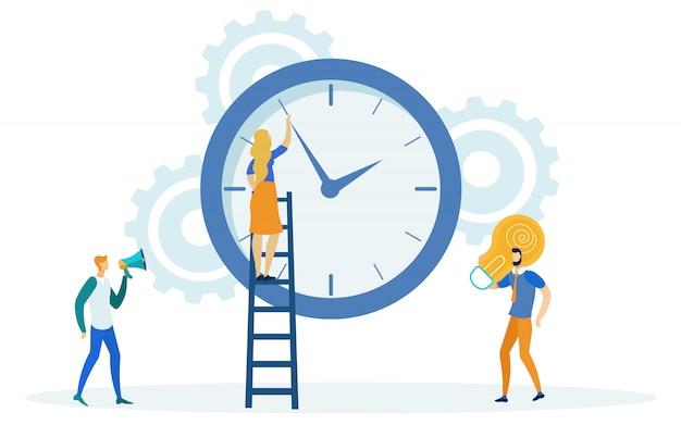 Zeitmanagement, mädchen auf leiter, die zeit ändert.