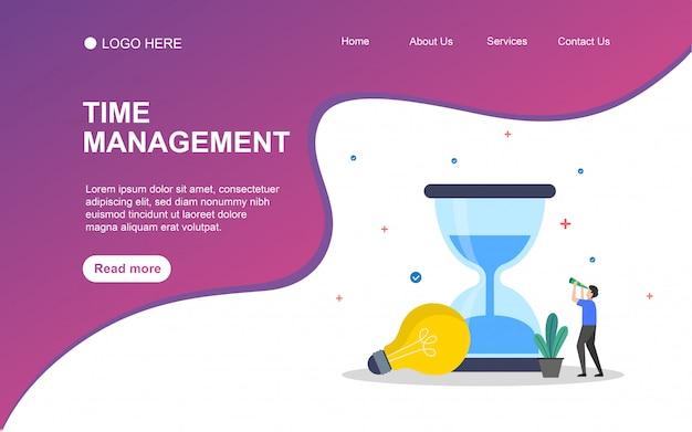 Zeitmanagement mit personencharakter für web-landing-page-vorlage.
