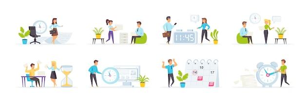 Zeitmanagement mit personencharakteren in verschiedenen szenen und situationen.