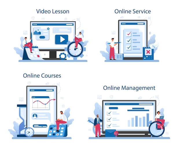 Zeitmanagement-onlinedienst oder plattformsatz