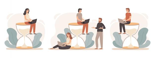 Zeitmanagement-sanduhr. büroleiter, der an sandglas-, frist- und produktiven fachleuten arbeitet, illustrationssatz