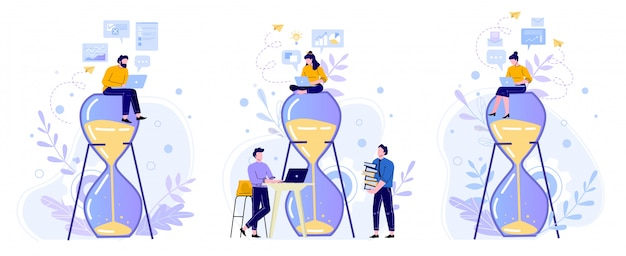 Zeitmanagement-sanduhr. menschen arbeiten mit laptop auf sandglas, arbeitszeit und teamproduktivität flat illustration set. büroangestellte zeichentrickfiguren. leistungskonzept