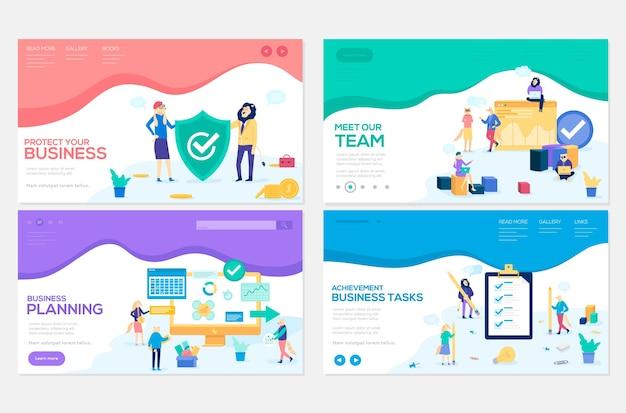 Zeitmanagement-seminar web-banner mit copyspace. zusammenarbeit. zeichentrickfiguren mit tierköpfen
