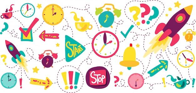 Zeitmanagement-strichlinien-illustrationen eingestellt