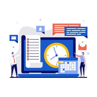 Zeitmanagement und kalenderkonzept mit charakter. aufgaben und besprechungen flach machen. laptop-computer mit planungssoftware auf bildschirm, uhr, post, dokumenten und diagrammen.