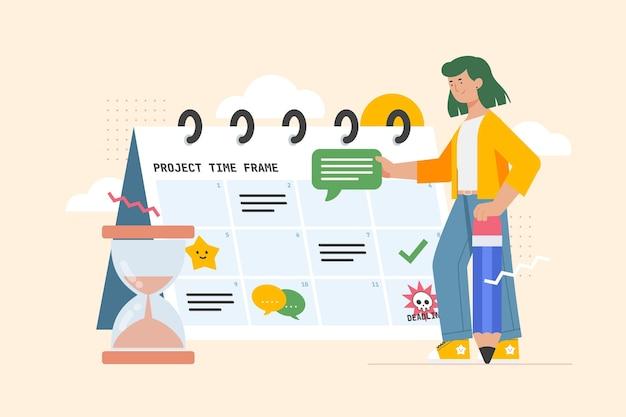 Zeitmanagementkonzept der flachen illustration