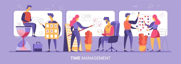 Zeitmanagementkonzept mit charakteren