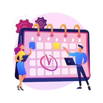 Zeitmanagementt. kalendermethode, terminplanung, business organizer. personen, die zeichen in arbeitszeitplan-comicfiguren zeichnen. teamwork der kollegen.
