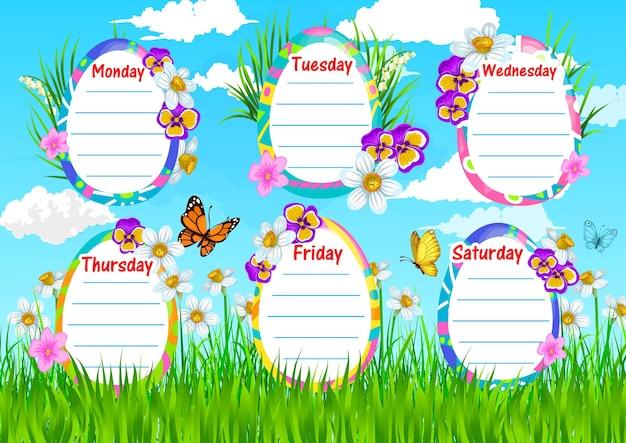 Zeitplan der bildungsschulschablone mit frühlingsblumen auf feld