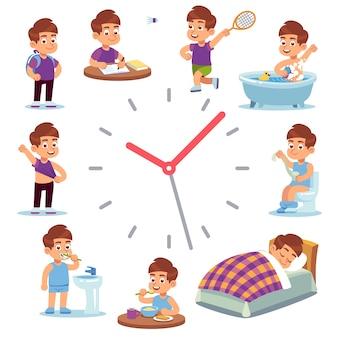 Zeitplan der glücklichen jungenlebensillustration