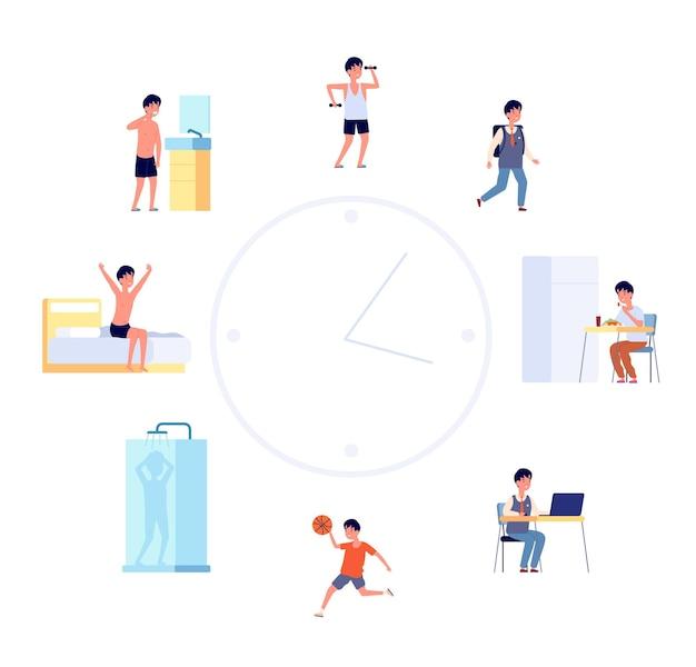 Zeitplan des täglichen lebens. karikaturkinderroutine, jungenaktivitäten. flaches süßes kind schläft essen nach der uhr, baby-lifestyle-vektor-illustration. aktivität und dusche, schlafen und essen, morgenroutine