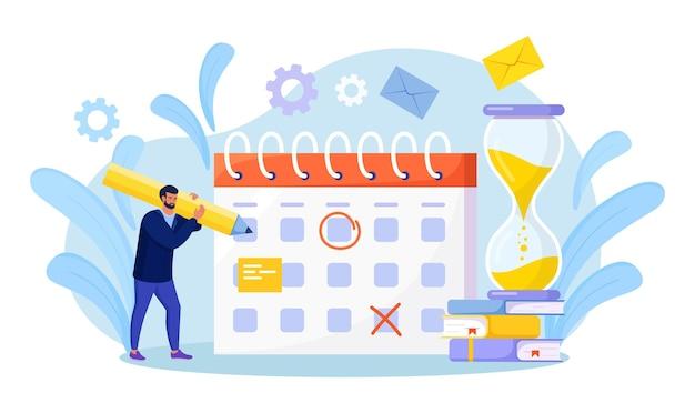Zeitplan für die planung. geschäftsmann, der ereignisse auf riesigem kalender überprüft. effektives zeitmanagement. mitarbeiter organisieren benachrichtigungen zu lebensereignissen, memo-erinnerung, arbeitspläne. mann vereinbart termine