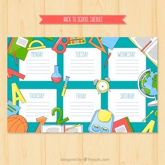 Zeitplan für die schule mit bunten schulmaterial