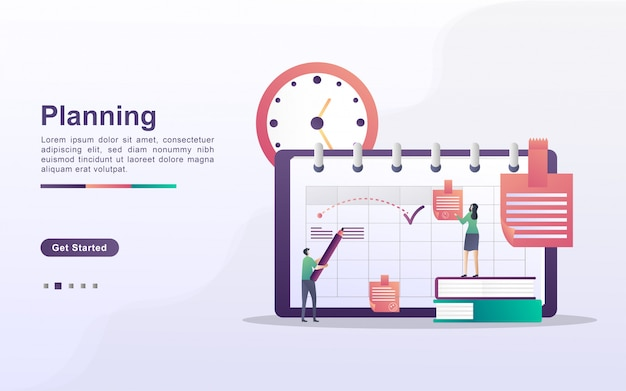 Zeitplan- und planungskonzept, erstellung eines persönlichen studienplans, geschäftszeitplanung, ereignisse und nachrichten, erinnerung und zeitplan. kann für web-landingpage, banner, mobile app verwendet werden. flaches design