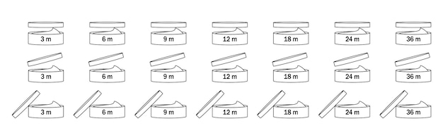 Zeitraum nach dem öffnen für verpackungsdesign isoliert auf weißem hintergrund. boxsymbol öffnen.