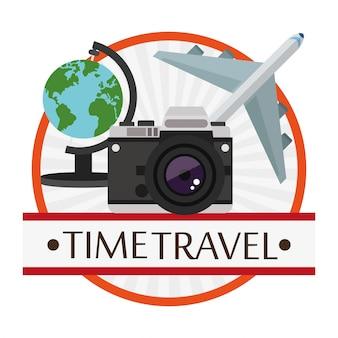 Zeitreise-poster urlaub kamera flugzeug globus