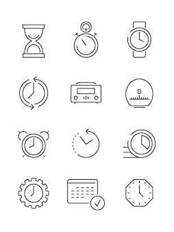 Zeitsymbole. arbeitszeit manageent der kalenderuhr schnelle dünne lineare ikonenvektorsammlung