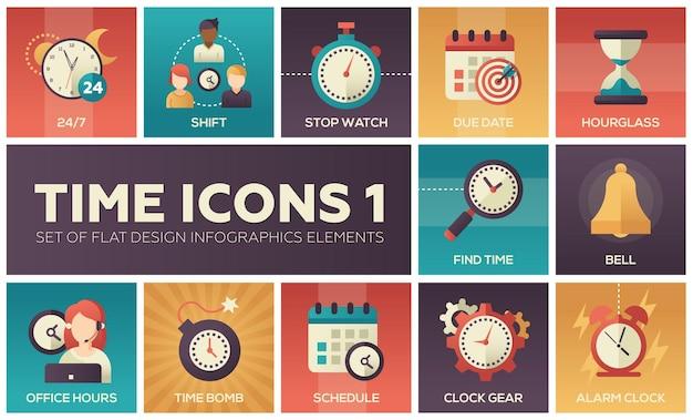Zeitsymbole - modernes set von flachen design-infografik-elementen. bunte bilder von schicht, stoppuhr, fälligkeitsdatum, sanduhr, zeit finden, glocke, bürozeiten, zeitbombe, zeitplan, uhrwerk, wecker