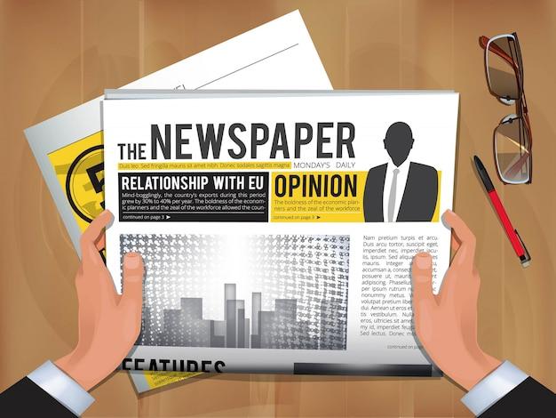 Zeitung in händen. tägliche nachrichten geschäftsmann halten und heiße ankündigung in zeitungsumschlagvorlage lesen
