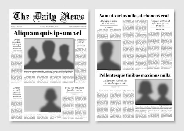 Zeitungs-vektorplan der papierzeitung. redaktionelle nachrichtenvorlage