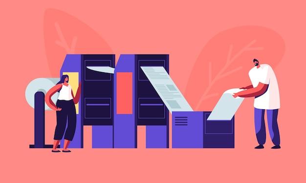 Zeitungsproduktionsprozess in der typografie. karikatur flache illustration