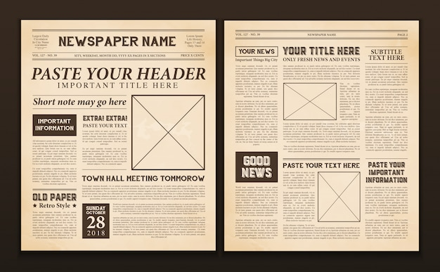 Zeitungsseiten vorlage vintage