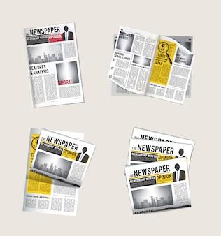 Zeitungssymbole. journalisten-sammlung des lesens der täglichen nachrichten mit schlagzeilen-tabloidvektorsymbolen der zeitung