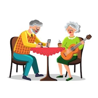 Zeitvertreib des älteren mannes und der frau-paar-vektor. älterer großvater trinkt getränke und benutzt smartphone, großmutter spielt auf der gitarre, zeitvertreib alter menschen. charaktere flache cartoon-illustration