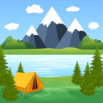 Zelt camping tourist forest mountain expedition