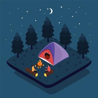 Zelt camping. touristengruppe sitzen in der nähe von feuer
