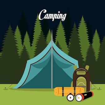 Zelt, das über landschaftshintergrund lokalisiertem ikonendesign kampiert