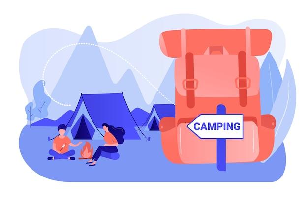 Zelt im wald, touristen wandern, rucksackurlaub. sommercamping, familiencampingabenteuer, übernachtungscamp, beste campingausrüstung hier konzept. isolierte illustration des rosa korallenblauvektors