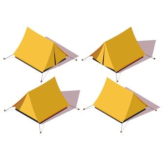 Zelt-set von vier verschiedenen seiten