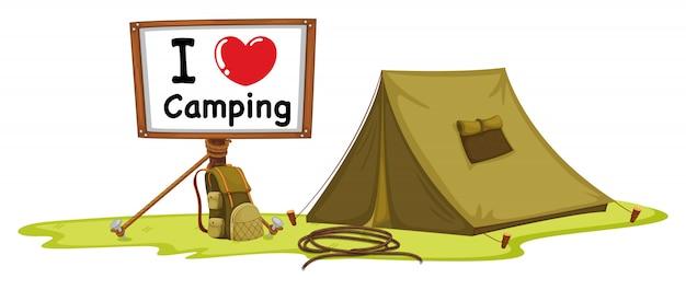 Zelt und anschlagtafel