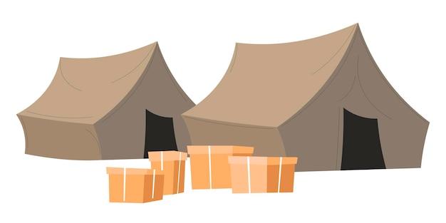 Zelt- und kartonkisten, isoliertes lager mit humanitärer hilfe für flüchtlinge oder arme menschen. freiwilligenarbeit oder organisation von armutsbekämpfung. hilfe und finanzielle unterstützung, vektor im flachen stil