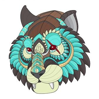 Zen verwicklung stilisierte tigerkopf