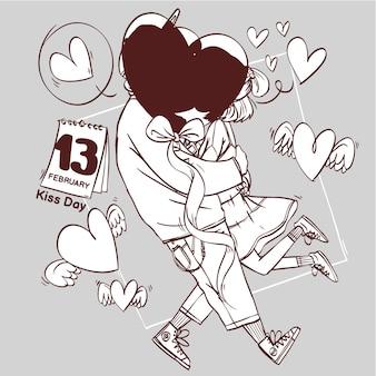 Zensierte kuss tag linie kunst super süße liebe fröhlich romantische valentinstag paar aus geschenk hand gezeichnete gliederung illustration