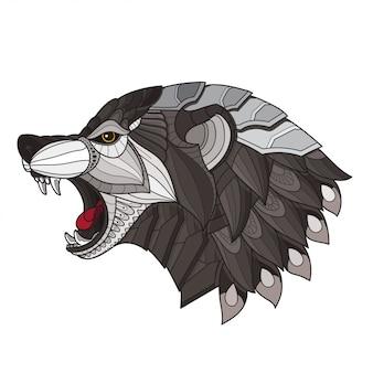 Zentangle stilisierter wolfskopf. vektor-illustration