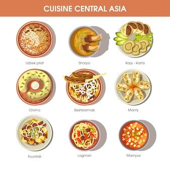 Zentralasien-lebensmittelküche-vektorikonen für restaurantmenü
