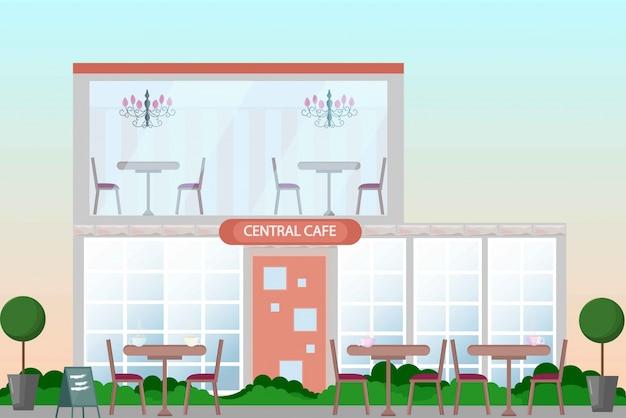 Zentrale cafégebäudefassade. flache art des vektors. sommersaison