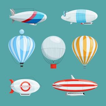 Zeppeline, große luftschiffe und ballons mit kabine. vektorillustrationen eingestellt in karikaturart. luftschifftransport mit korb und kabine