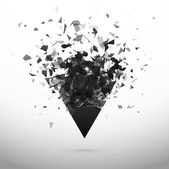 Zerbrechen und zerstörung dunkles dreieck. explosionseffekt. abstrakte wolke von stücken und fragmenten nach explosion