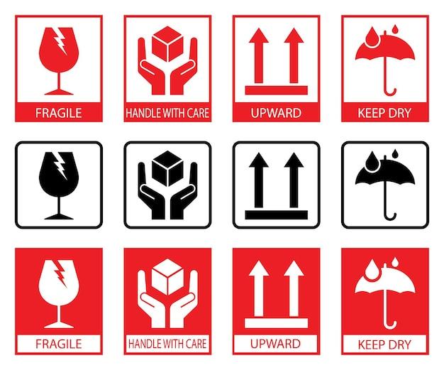 Zerbrechliche symbole. satz verpackungssymbole: diese seite nach oben, vorsichtig behandeln, zerbrechlich, trocken halten