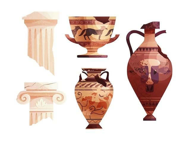 Zerbrochene antike vasen und griechische säulen antike römische säule archäologischer keramiktopf