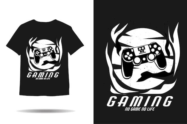 Zerbrochenes gaming-ausrüstungs-silhouette-t-shirt-design