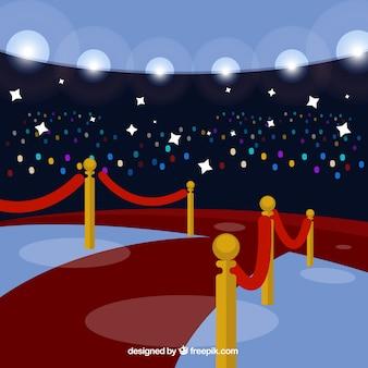 Zeremoniehintergrund des roten teppichs in der flachen art