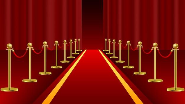 Zeremonielles vip-ereignis des roten teppichs oder staatsoberhaupt besuchen realistisches bild mit goldbarrieren