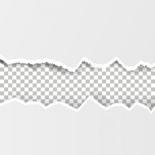 Zerissenes papier auf dem transparenten hintergrund
