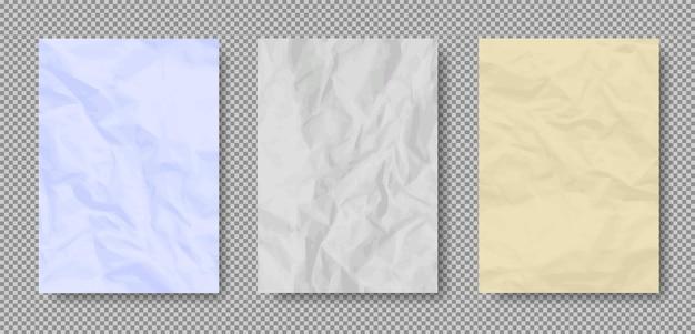 Zerknitterte realistische alte papierstrukturen des grunge