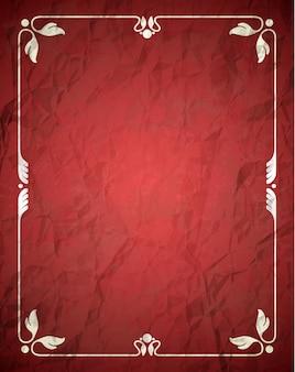 Zerknitterter roter rahmen mit ornament